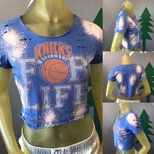 New York Knicks Basketball Bleached Crop Top